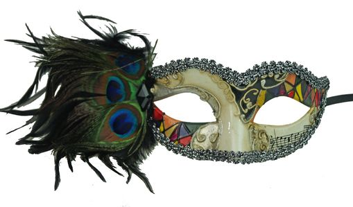 Medellin Mosaic Feather Masquerade Mask