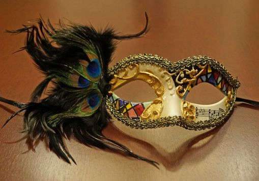 Medellin Venetian Masquerade Mask With Feathers