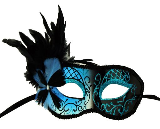 Melissa Masquerade Mask Aqua With Feathers