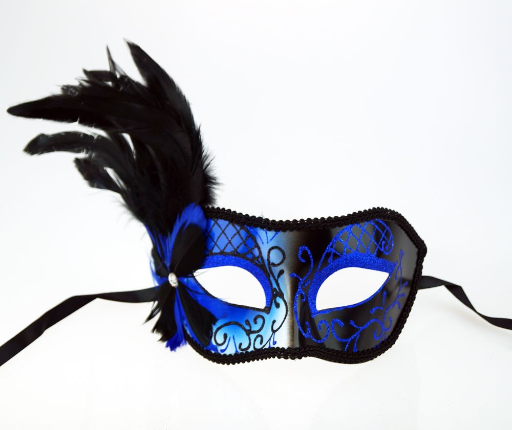 Melissa Masquerade Mask Blue With Feathers