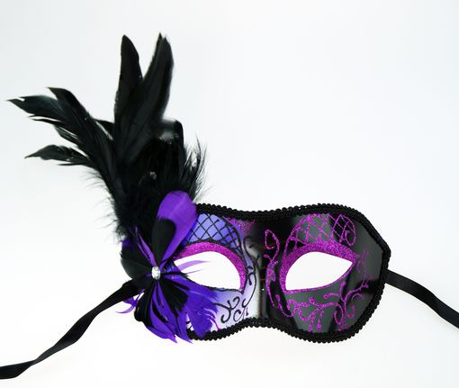 Melissa Masquerade Mask Purple With Feathers