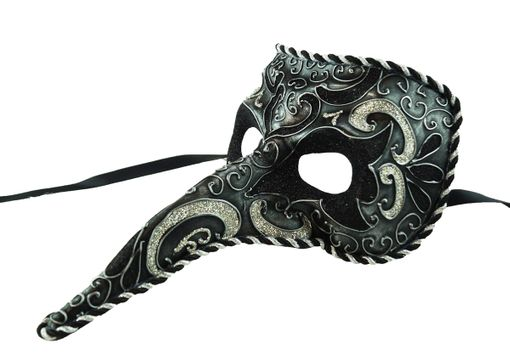 Men's Black Venetian Long Nose Mask