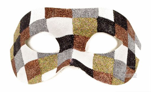 Checkered Men's Masquerade Eye Mask In Cool Colrs