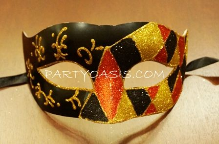 Men's Masquerade Mask Black/Red/Gold