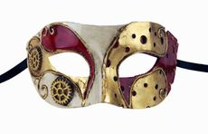 Men's Masquerade Ball Mask Gold And Red  Venetian Party Mask