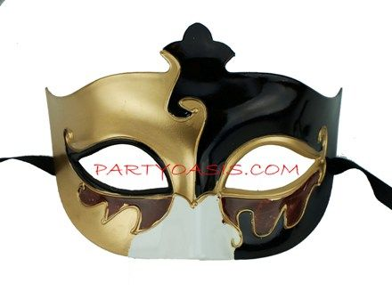 Mens Venetian Masquerade Eye Mask Gold/Black