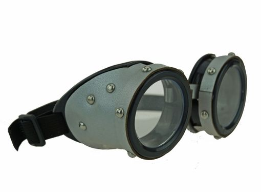 Silver Aviator Steampunk Goggles Vintage Motorcycle Goggles