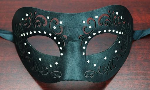 Michelle Black Leather Masquerade Mask
