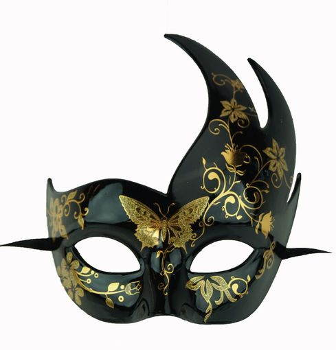 Beautiful Gold Accentted Masquerade Mask - Midnight Butterfly