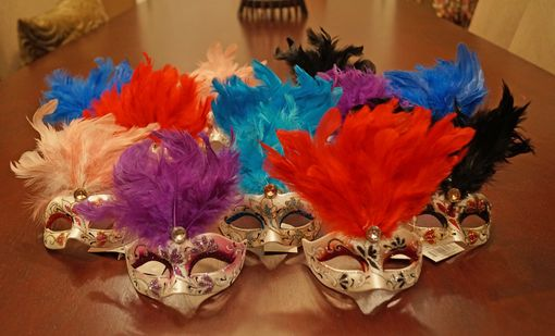 12 Mini Masquerade Mask Set Assorted Mask & Feather Colors