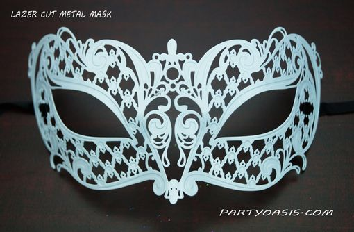 White Miraku Lazer Cut Masquerade Eye Mask White