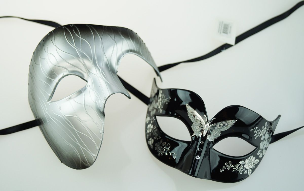 Mystic Couples Masquerade Mask Set Silver
