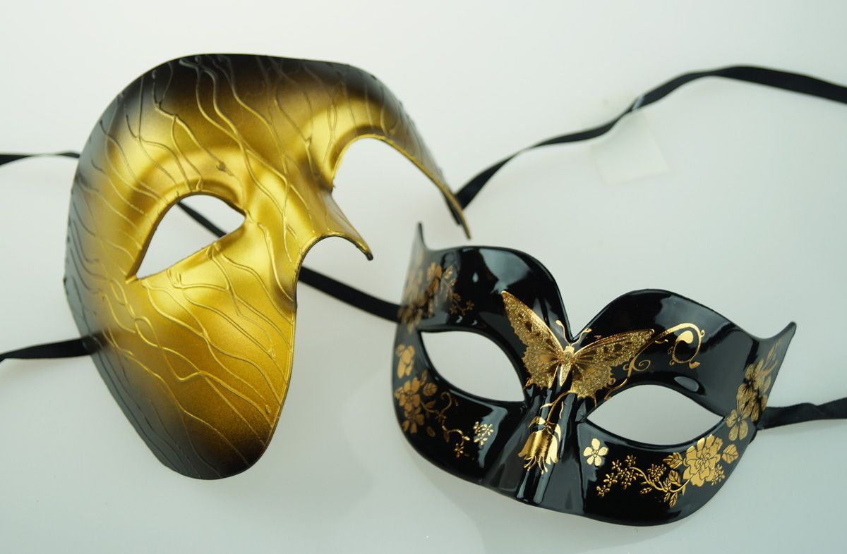 Mystic Couples Masquerade Mask Set Gold