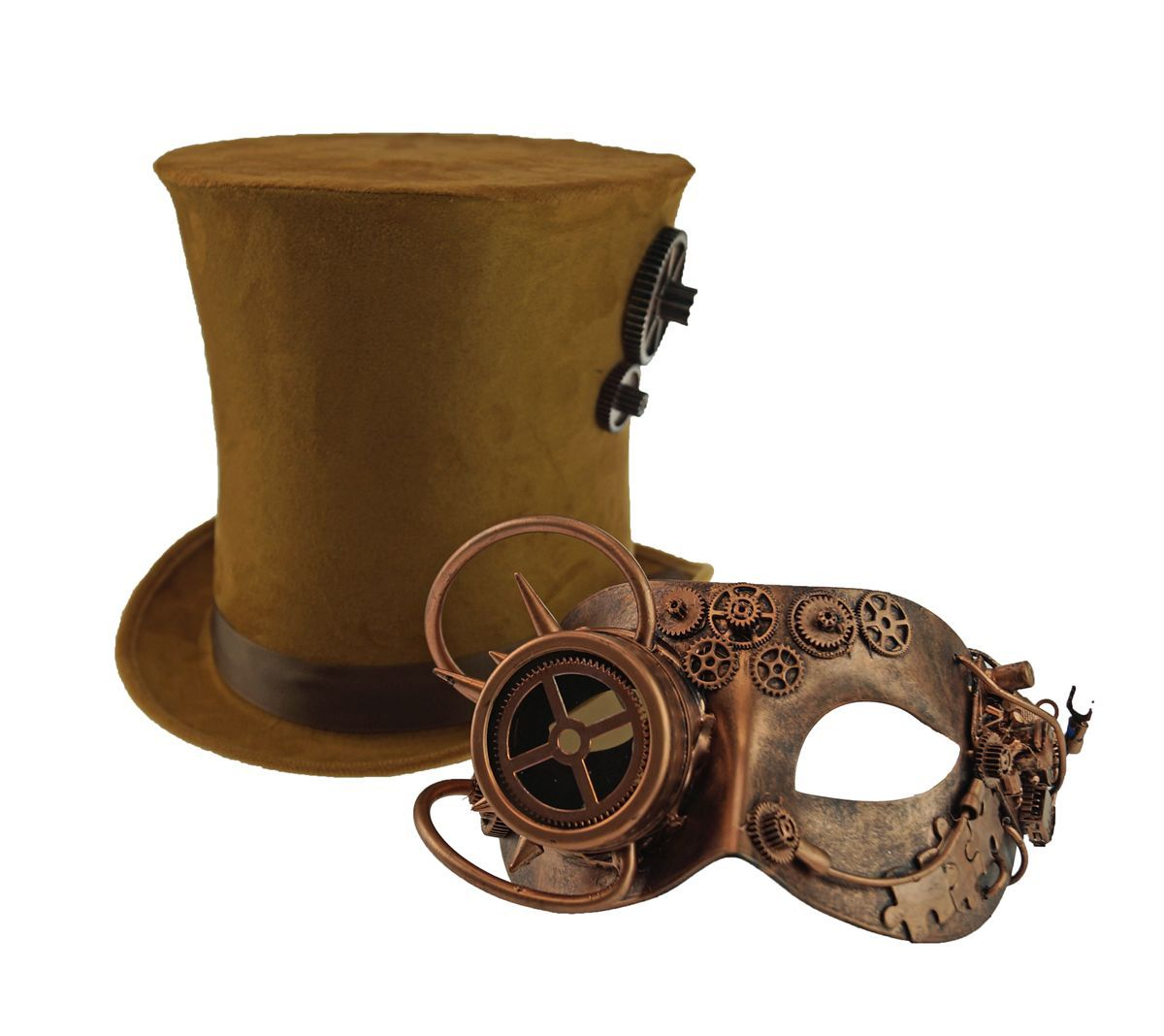 New High Quality Copper Steampunk Costume Mask And Hat Set