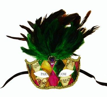 New Orleans Mardi Gras Masquerade Mask With Feathers
