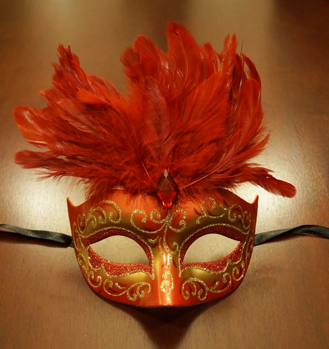 Women's Cosmo Masquerade Mask Red With Feathers