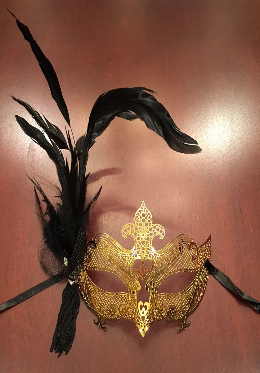 Enigma Feather Masquerade Mask Gold