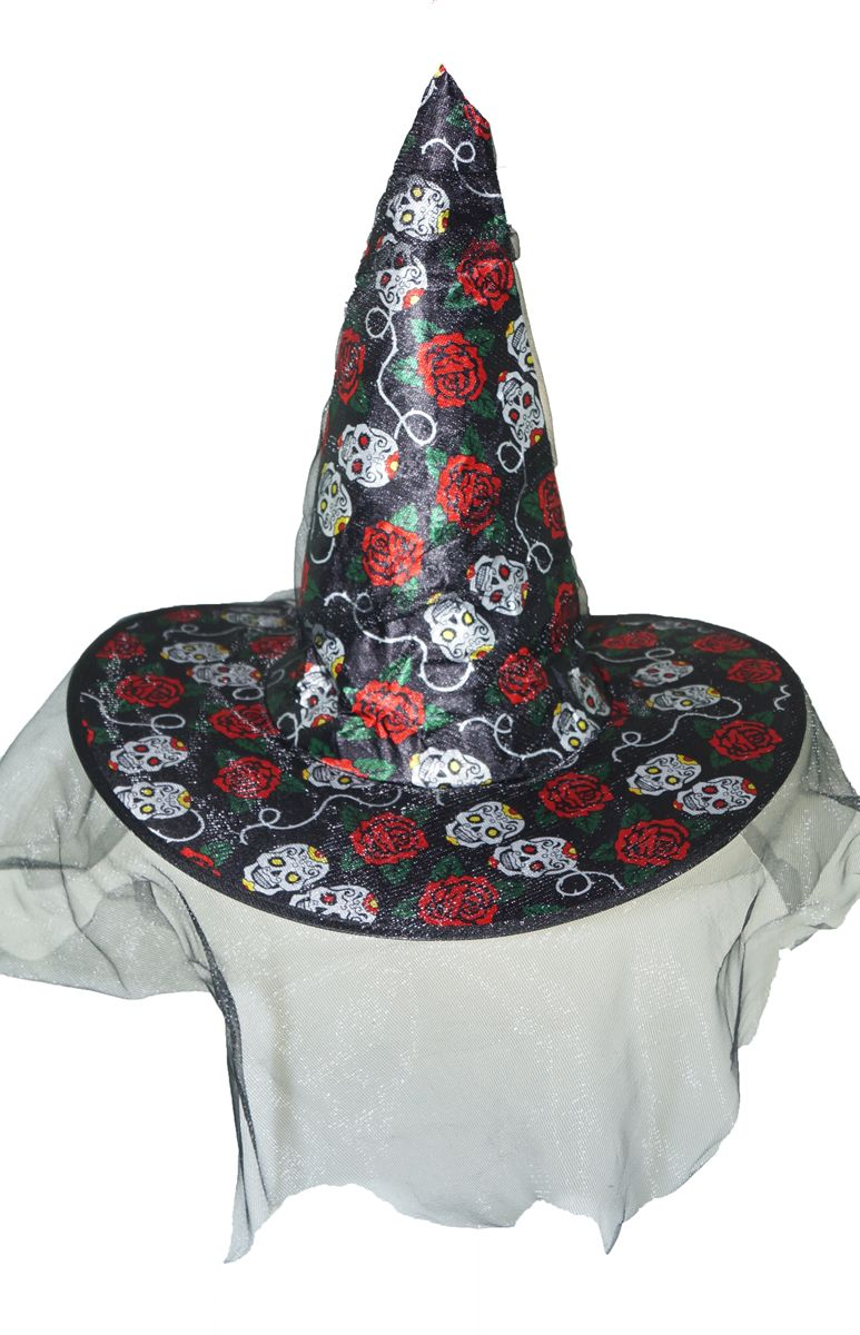 Skull And Roses Witch Hat