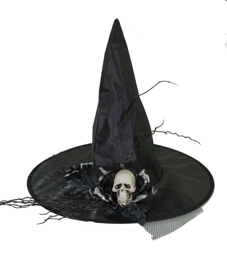 Black Skull Witch Hat