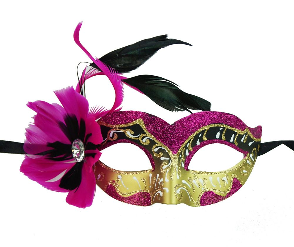 Natalia Masquerade Mask With Feathers Pink