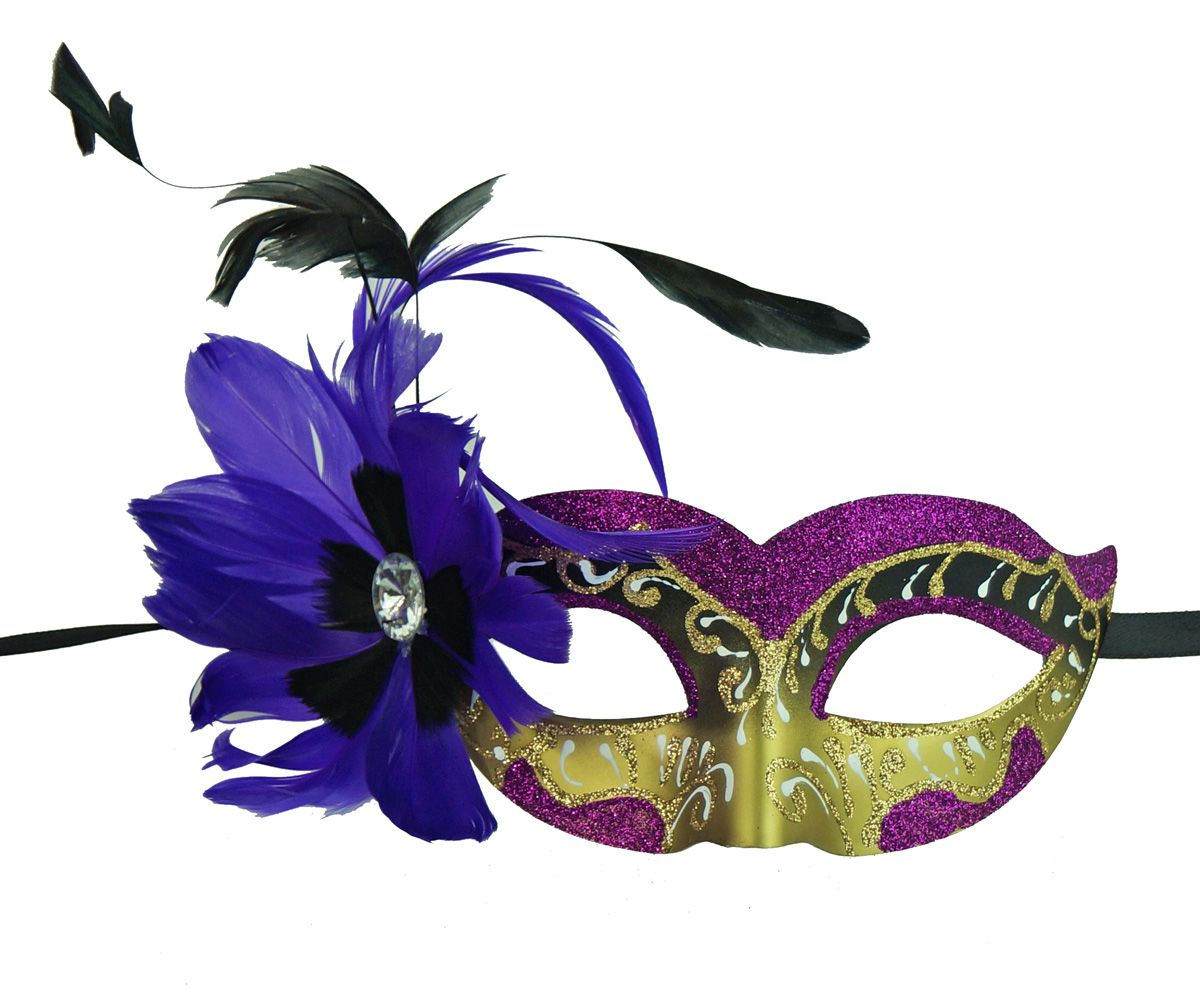 Natalia Masquerade Mask With Feathers Purple