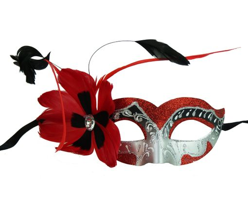 Natalia Masquerade Mask With Feathers Red