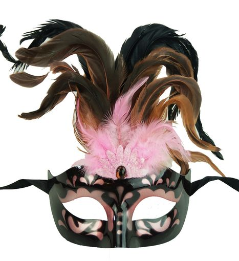 Pink Masquerade Mask With Feathers