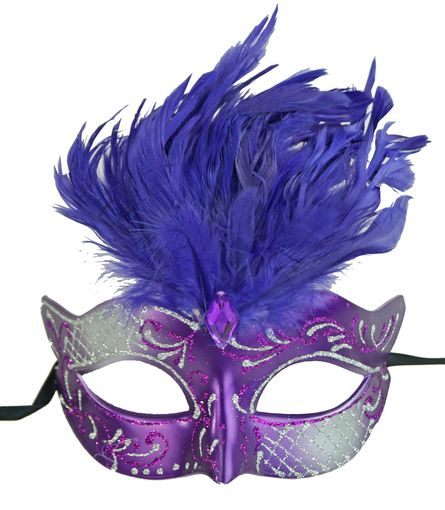 Vegas Masquerade Feather Mask Purple