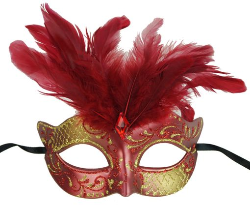 Vegas Masquerade Feather Mask Red