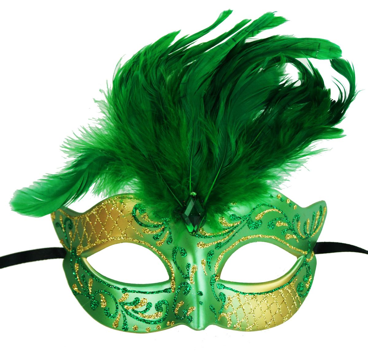 Vegas Masquerade Feather Mask Green
