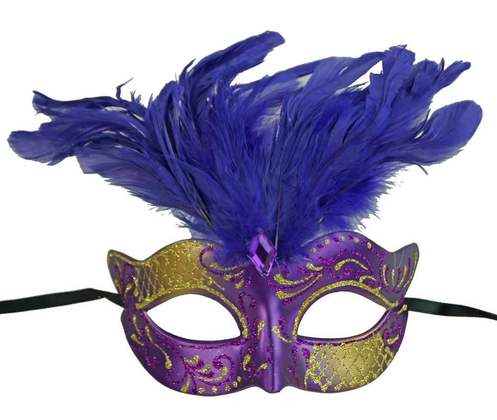 Vegas Masquerade Feather Mask Purple And Gold