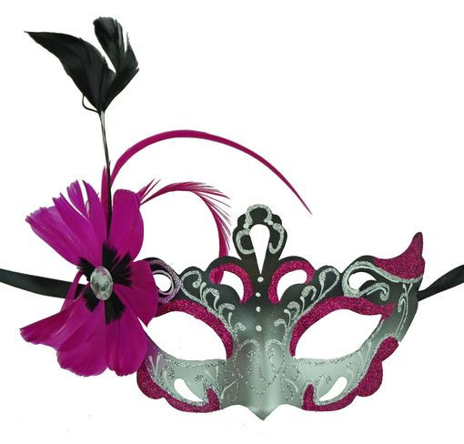 Vennessa Hot Pink Masquerade Mask With Feathers