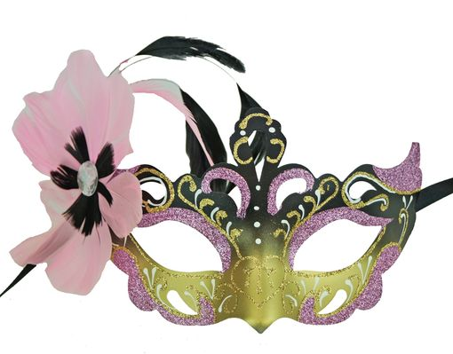 Vennessa Pink Masquerade Mask With Feathers