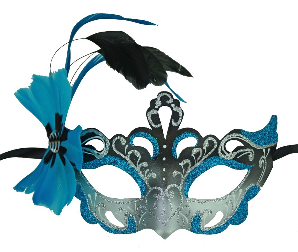 Vennessa Aqua Masquerade Mask With Feathers