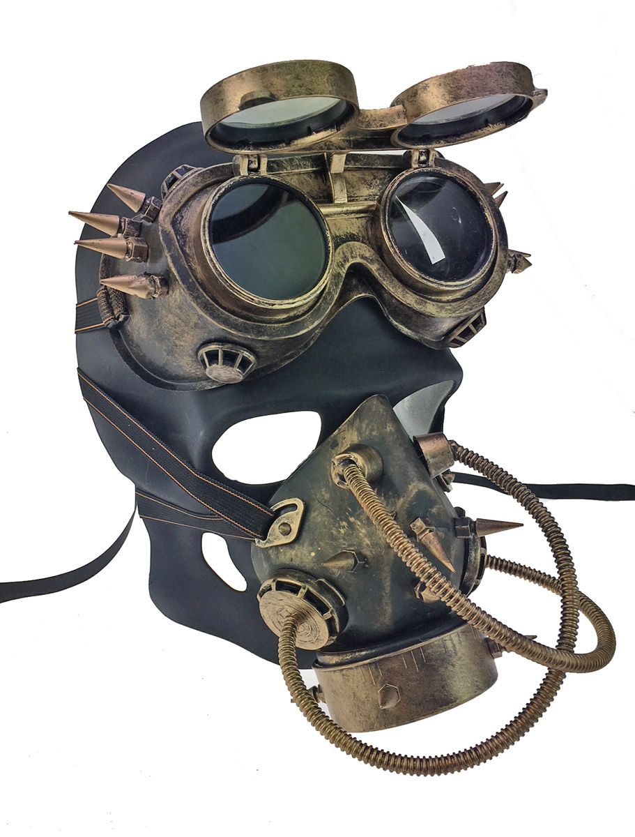 Steampunk Skull Mask Respirator With Aviator Goggles Cosplay Mask