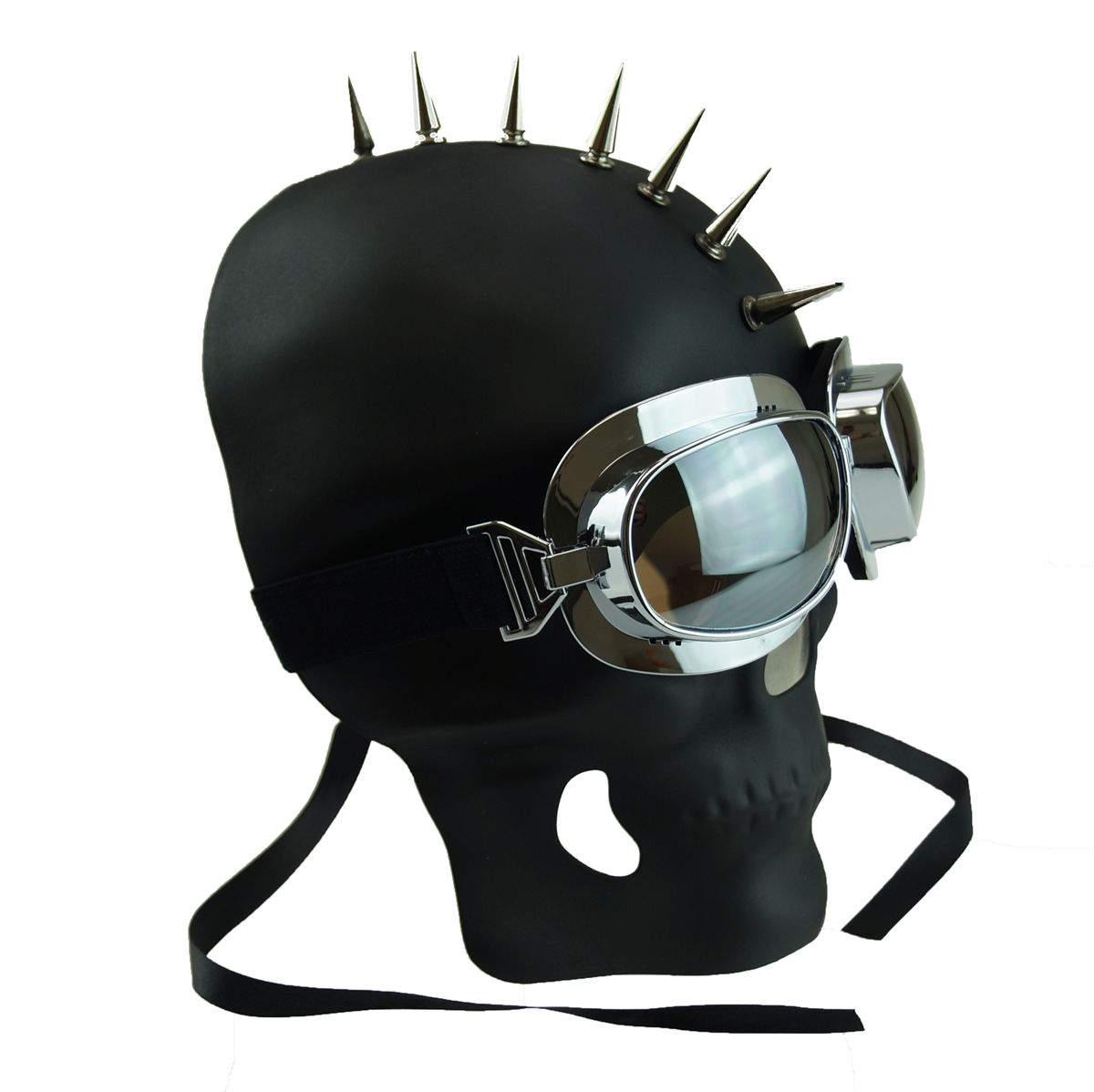 Spiked Mohawk Skull Mask Halloween Skull Mask Black