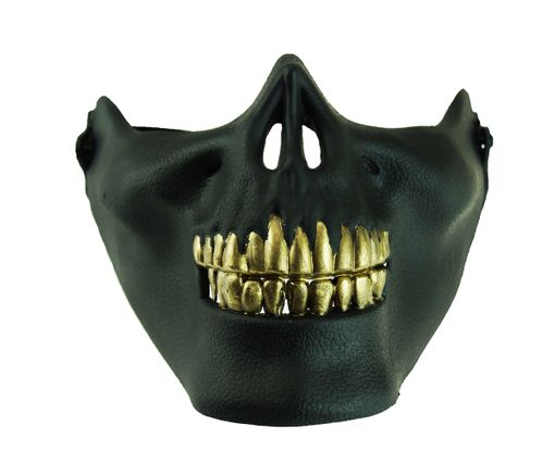 Zombie Half Skull Halloween Face Mask Black with Gold Teeth