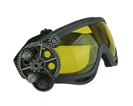 Steampunk Aviator Goggles Biker Cruiser goggles Burning Man Goggles Yellow Lens