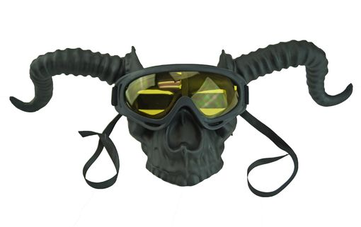 Black Skull Horned Mask Halloween Horned Skull With Goggles