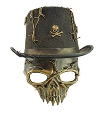Halloween Skull Mask With Matching Skull Stop Hat Gold