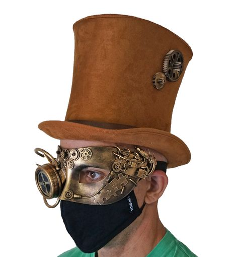 High Quality Steampunk Costume Mask And Hat Set Gold