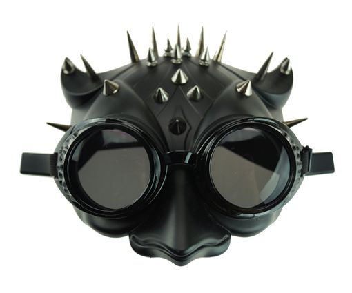 Spiked Owl Mask Bird Mask With Goggles Black