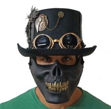 Premium Steampunk Hat with skull Mouth Guard Black
