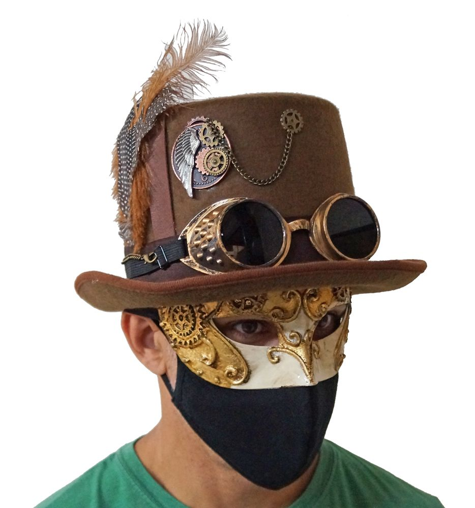 Brown Vintage Steampunk Hat With Goggles And Mask Steampunk Costume Accessory Set