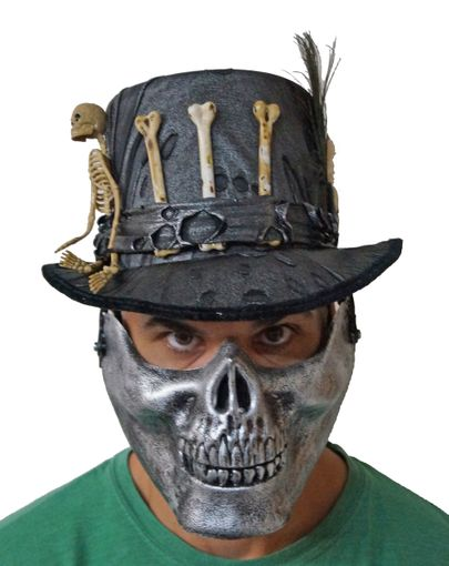 Voodoo Witch Doctor Zombie Hat With Skull Mouth Guard Silver
