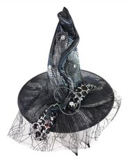 Fancy Snake Print Halloween Witch Hat With Lace