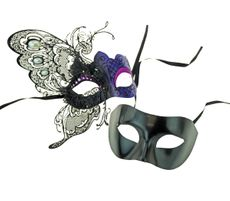 Purple Couples Masquerade Venetian Party Masks