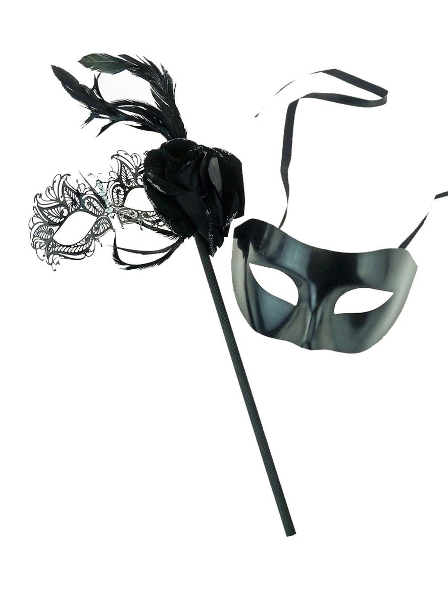 Venetian Stick Mask Couples Set Black His And Hers Masks