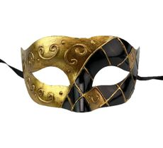 Men's Gold And Black Venetian Masquerade Mask