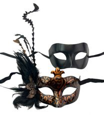 Bronze And Black Couples Venetian Masquerade Masks